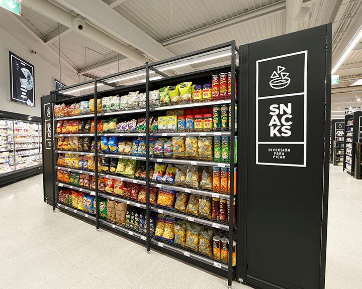 Zona de snacks del supermercado